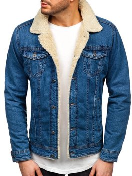 Чоловіча джинсова куртка темно-синя Bolf 1901