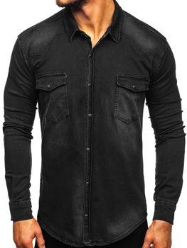 Чоловіча джинсова сорочка з довгим рукавом Чорна Bolf 2063