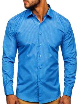 Чоловіча елегантна сорочка в смужку з довгим рукавом блакитна Bolf NDT10