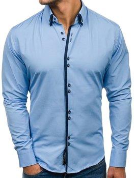 Чоловіча елегантна сорочка з довгим рукавом блакитна Bolf 1721-A