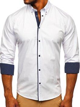 Чоловіча елегантна сорочка з довгим рукавом біла Bolf 7724
