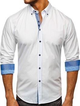 Чоловіча елегантна сорочка з довгим рукавом біла Bolf 8838-1