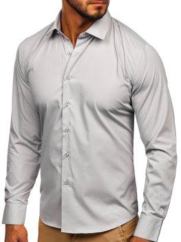 Чоловіча елегантна сорочка з довгим рукавом світло-сіра Bolf 0001