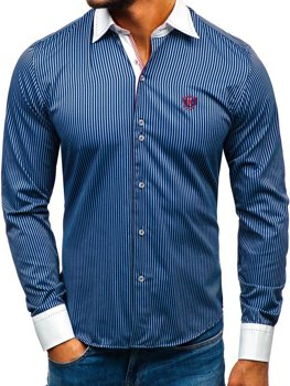 Чоловіча елегантна сорочка у смужку з довгим рукавом темно-синя Bolf 4784-A