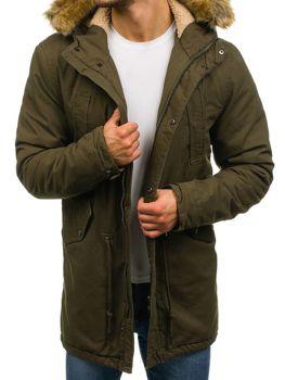 Чоловіча зимова куртка парка зелена Bolf YL001