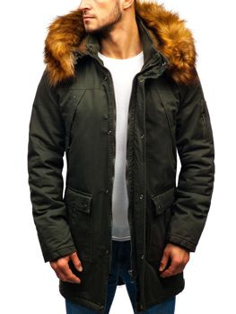 Чоловіча зимова куртка парка хакі Bolf R106