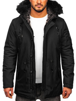 Чоловіча зимова куртка парка чорна Bolf 1068