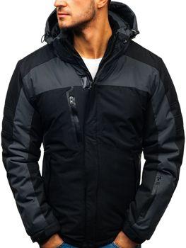 Чоловіча зимова лижна куртка чорна Bolf HZ8112
