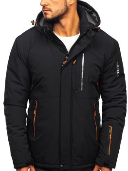 Чоловіча зимова лижна куртка чорно-помаранчева Bolf 1910