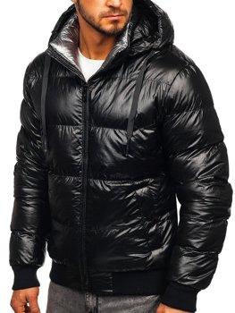 Чоловіча зимова стьобана чорна куртка Bolf 92556