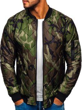 Чоловіча куртка-бомбер камуфляж-зелена Bolf MY01
