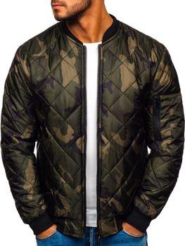 Чоловіча куртка-бомбер камуфляж-хакі Bolf MY01
