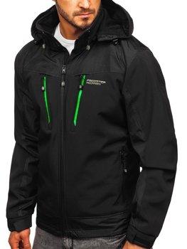 Чоловіча куртка софтшелл чорно-зелена Bolf P185