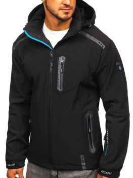 Чоловіча куртка софтшелл чорно-синя Bolf A5526