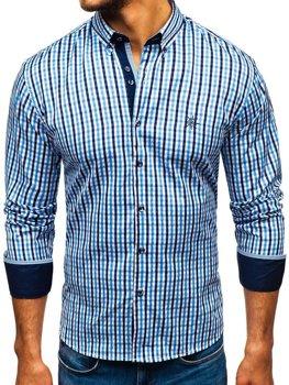Чоловіча сорочка віші в клітку з довгим рукавом блакитна Bolf 4712