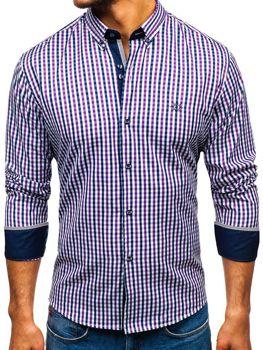 Чоловіча сорочка віші в клітку з довгим рукавом фіолетова Bolf 4712