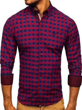 Чоловіча сорочка в клітку з довгим рукавом бордова Bolf 4701
