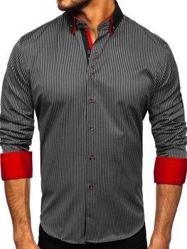 Чоловіча сорочка в смужку з довгим рукавом чорна Bolf 2751