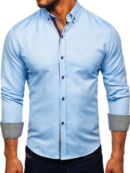 Чоловіча сорочка елегантна з довгим рукавом блакитна Bolf 5801-а