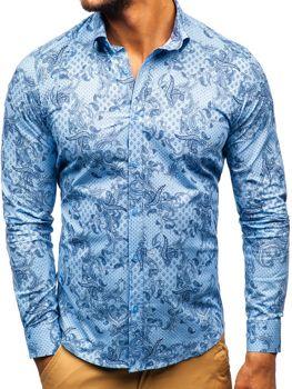Чоловіча сорочка з візерунком з довгим рукавом синя Bolf 200G63