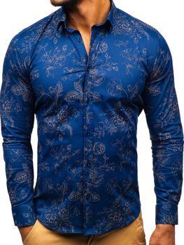 Чоловіча сорочка з візерунком з довгим рукавом темно-синя Bolf 200G67
