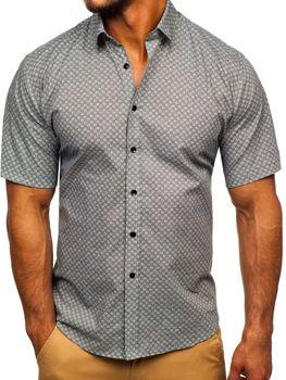 Чоловіча сорочка з візерунком з коротким рукавом сіра Bolf TSK101