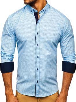 Чоловіча сорочка з візерунком та довгим рукавом блакитна Bolf 9707
