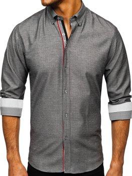 Чоловіча сорочка з довгим рукавом графітова Bolf 8843