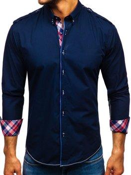 Чоловіча сорочка з довгим рукавом темно-синя Bolf 1758