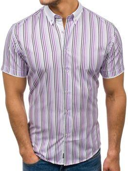 Чоловіча сорочка у смужку з коротким рукавом фіолетова Bolf 5201