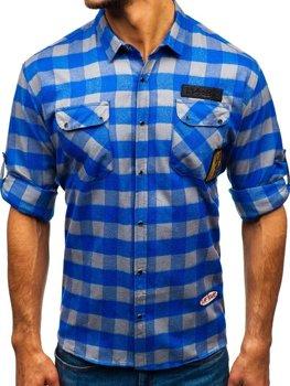 Чоловіча фланелева сорочка з довгим рукавом синьо-сіра Bolf 2503