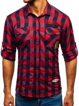 Чоловіча фланелева сорочка з довгим рукавом червона Bolf 2503