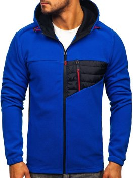 Чоловіча флісова толстовка з капюшоном синя Bolf YL011