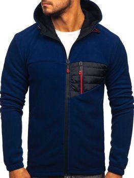 Чоловіча флісова толстовка з капюшоном темно-синя Bolf YL011