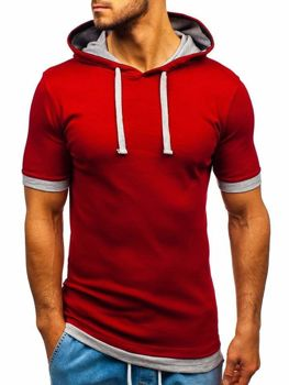 Чоловіча футболка з капюшоном бордова Bolf 08-1