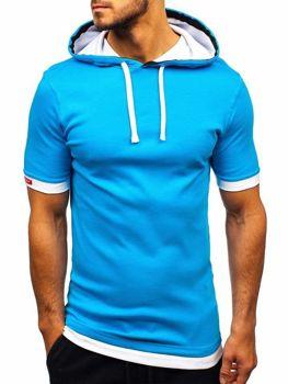 Чоловіча футболка з капюшоном бірюзова Bolf 08-1