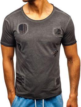 Чоловіча футболка з принтом графітова Bolf 320