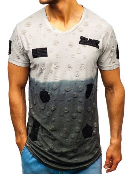 Чоловіча футболка з принтом сіра Bolf 318
