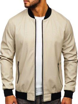 Чоловіча шкіряна куртка екрю Bolf 6124