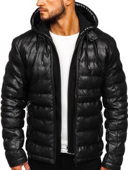 Чоловіча шкіряна куртка з капюшоном чорна Bolf 5831