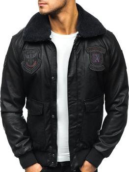 Чоловіча шкіряна куртка пілот чорна Bolf 4788