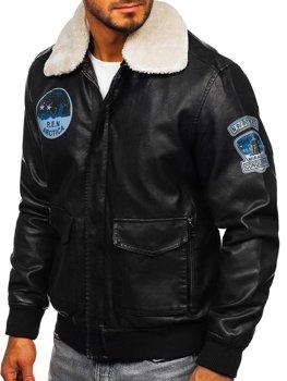 Чоловіча шкіряна куртка пілот чорна Bolf 4794