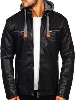 Чоловіча шкіряна куртка чорна Bolf EX702