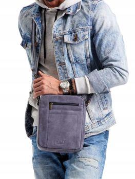 Чоловіча шкіряна сумка темно-синя 2521