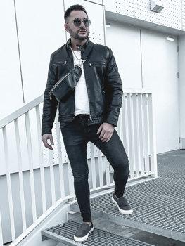 Чоловіча шкіряна утеплена куртка байкер чорна Bolf 92530