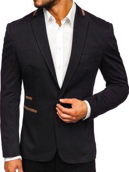 Чоловічий елегантний піджак чорний Bolf 9400
