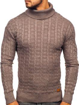 Чоловічий светр гольф коричневий Bolf 16