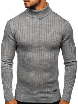 Чоловічий светр гольф сірий Bolf 3070