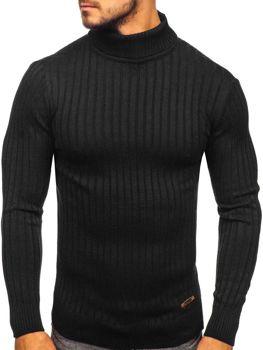 Чоловічий светр гольф чорний Bolf 3070