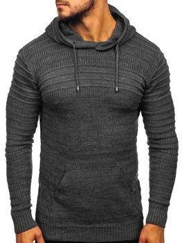 Чоловічий светр з капюшоном графітовий Bolf 7003